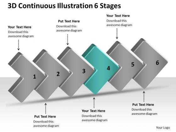 3d Continuous Illustration 6 Stages Success Work Process Flow Chart PowerPoint Templates