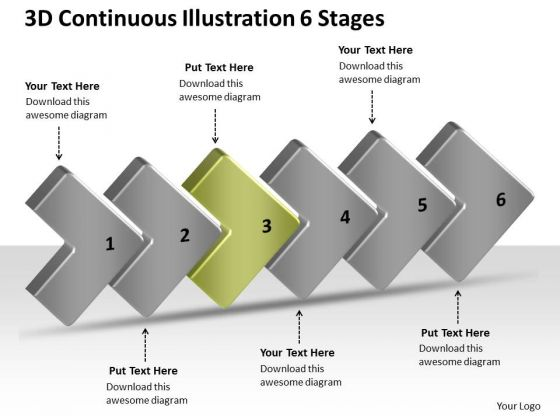 3d Continuous Illustration 6 Stages Work Process Flow Chart PowerPoint Templates