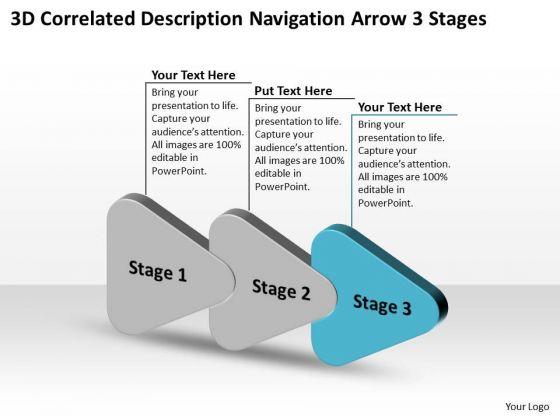 3d Correlated Description Navigation Arrow Stages Freeware Flowchart Slides PowerPoint Templates