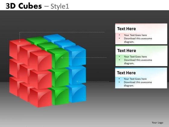 3d Cube Build Layer By Layer In PowerPoint