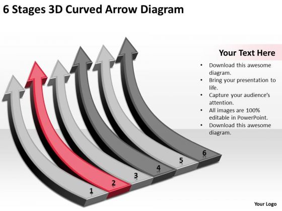 3d Curved Arrow Diagram Small Business Administration Plan PowerPoint Templates