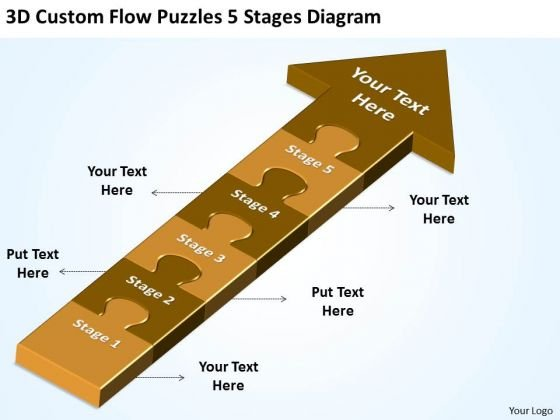 3d Custom Flow Puzzles 5 Stages Diagram Free Schematic PowerPoint Slides