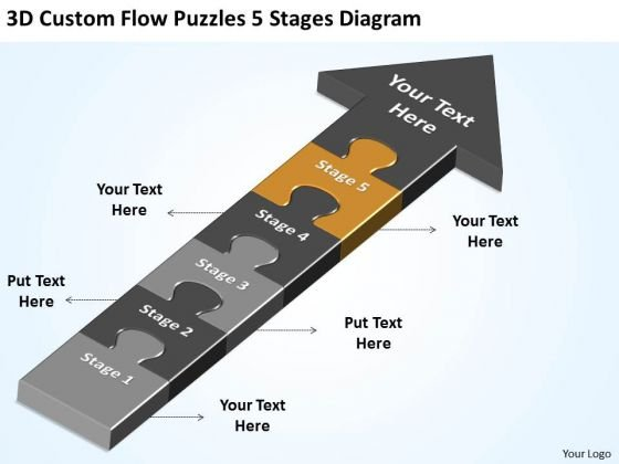 3d Custom Flow Puzzles 5 Stages Diagram Ppt Example Of Business Plan Outline PowerPoint Slides