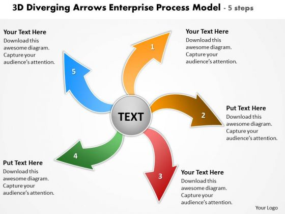 3d Diverging Arrows Enterprise Process Model 5 Steps Circular PowerPoint Slides