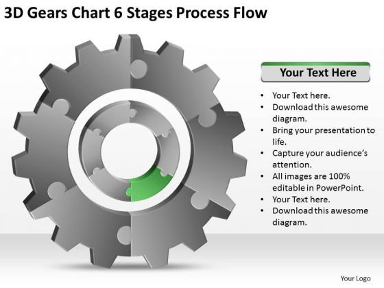 3d Gears Chart 6 Stages Process Flow Ppt Business Continuity Plan Software PowerPoint Slides