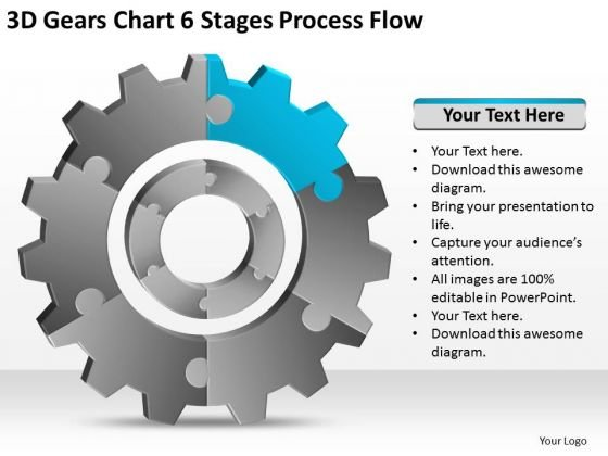 3d Gears Chart 6 Stages Process Flow Ppt Business Plan Basics PowerPoint Templates