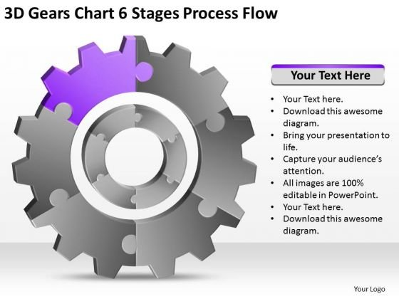3d Gears Chart 6 Stages Process Flow Ppt Business Plan Company Description PowerPoint Templates