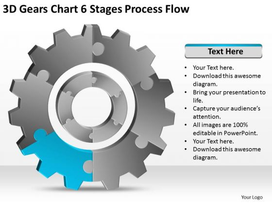 3d Gears Chart 6 Stages Process Flow Ppt Business Plan Sample PowerPoint Slides