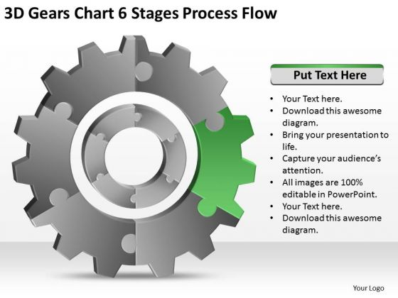 3d Gears Chart 6 Stages Process Flow Ppt Business Plan Template PowerPoint Templates