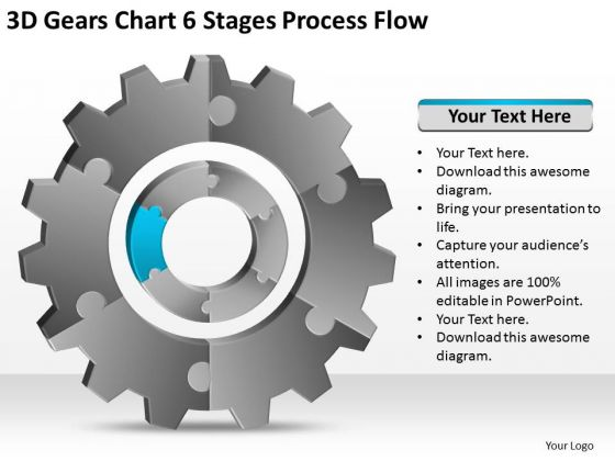 3d Gears Chart 6 Stages Process Flow Ppt Planning Business PowerPoint Templates