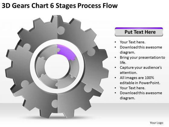3d Gears Chart 6 Stages Process Flow Ppt Template Of Business Plan PowerPoint Templates