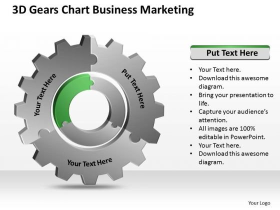 3d Gears Chart Business Marketing Ppt Elements Plan PowerPoint Templates