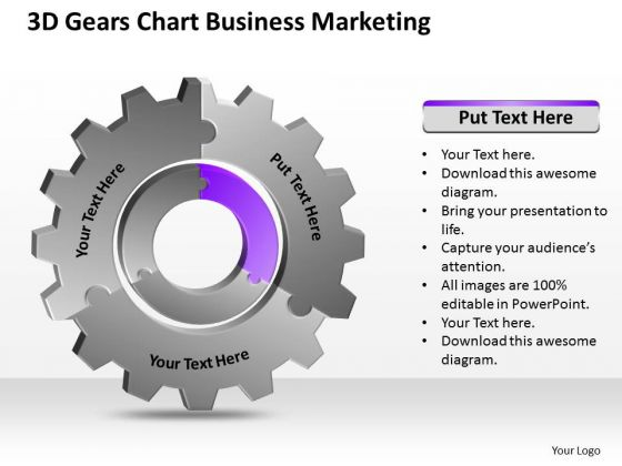 3d Gears Chart Business Marketing Ppt Example Of Plan Outline PowerPoint Slides