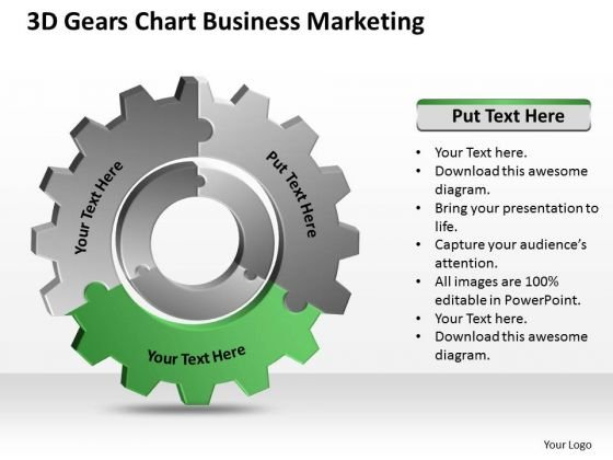 3d Gears Chart Business Marketing Ppt Sample Of Plan PowerPoint Templates