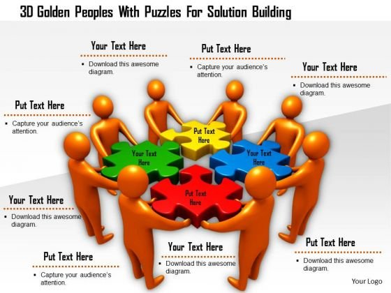 3d Golden Peoples With Puzzles For Solution Building