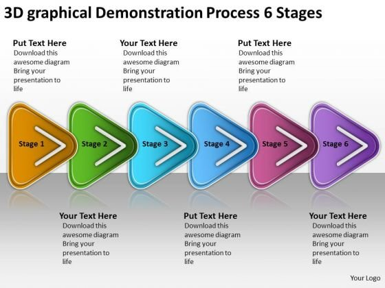 3d Graphical Demonstration Process 6 Stages Free Schematic PowerPoint Slides