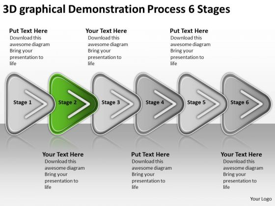 3d Graphical Demonstration Process 6 Stages Marketing Business Plan PowerPoint Slides
