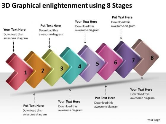 3d Graphical Enlightenment Using 8 Stages Free Flow Charts PowerPoint Slides
