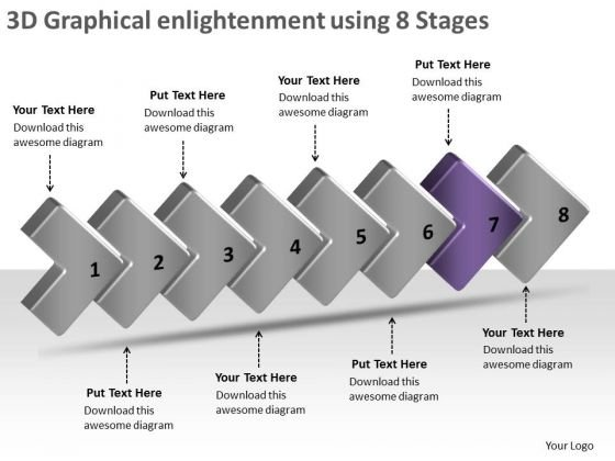 3d Graphical Enlightenment Using 8 Stages Make Flow Charts PowerPoint Slides