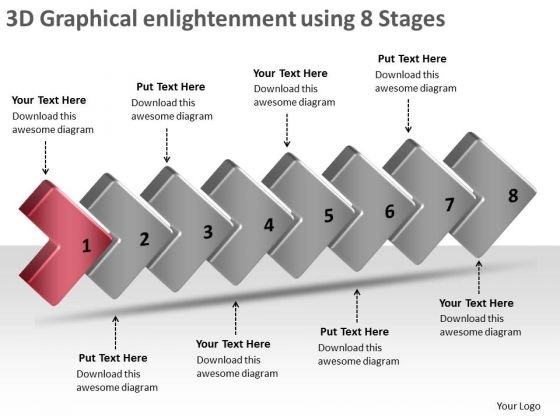 3d Graphical Enlightenment Using 8 Stages Open Source Flowchart PowerPoint Templates