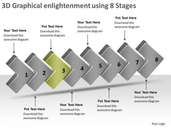3d Graphical Enlightenment Using 8 Stages Ppt Online Flowchart PowerPoint Slides