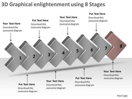 3d Graphical Enlightenment Using 8 Stages Ppt Schematic PowerPoint Slides