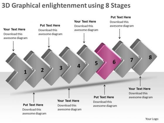 3d Graphical Enlightenment Using 8 Stages Production Plan Of Company PowerPoint Slides