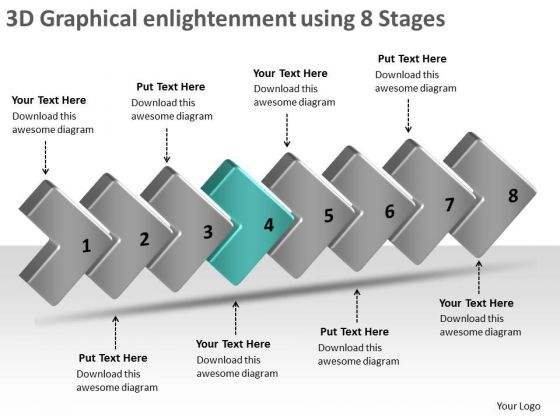 3d Graphical Enlightenment Using 8 Stages Schematic Design PowerPoint Templates