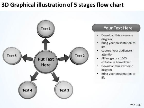 3d Graphical Illustration Of 5 Stages Flow Chart Cycle Motion Process PowerPoint Templates