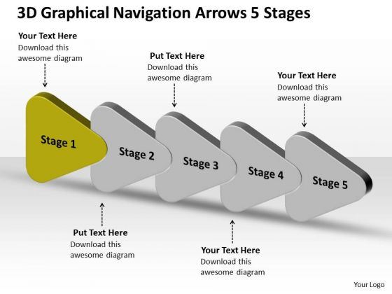 3d Graphical Navigation Arrows 5 Stages Circuit Diagram Maker PowerPoint Slides