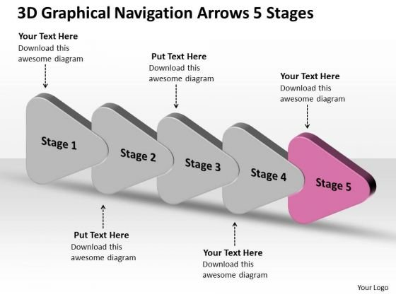 3d Graphical Navigation Arrows 5 Stages Circuit Simulation PowerPoint Slides