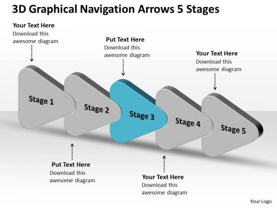 3d Graphical Navigation Arrows 5 Stages Flow Chart Project PowerPoint Templates