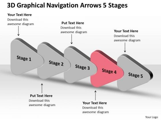 3d Graphical Navigation Arrows 5 Stages Ppt Flow Chart Business Plan PowerPoint Slides