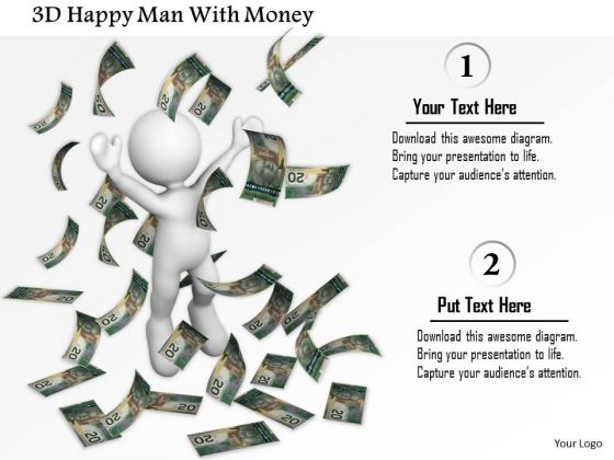 3d Happy Man With Money PowerPoint Templates