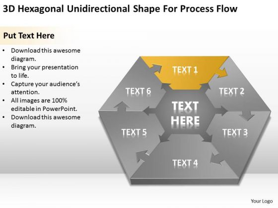 3d Hexagonal Unidirectional Shape For Process Flow Ppt Sample Business Plan PowerPoint Slides