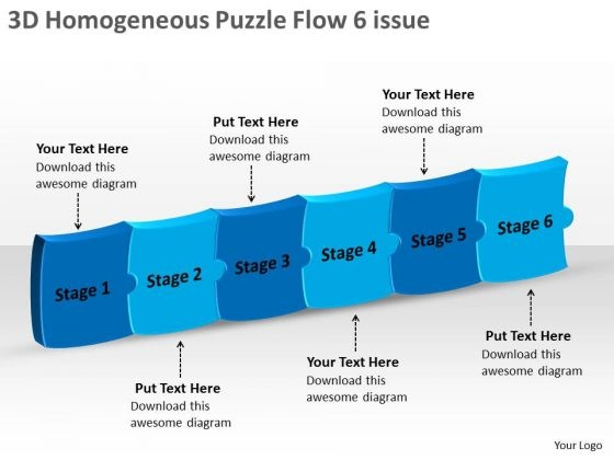 3d Homogeneous Puzzle Flow 6 Issue Proto Typing PowerPoint Slides