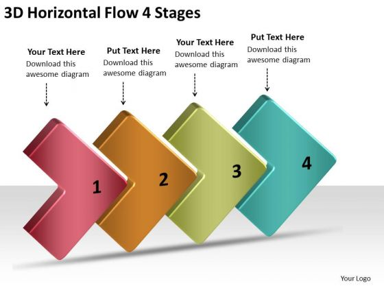3d Horizontal Flow 4 Stages Proto Typing PowerPoint Slides