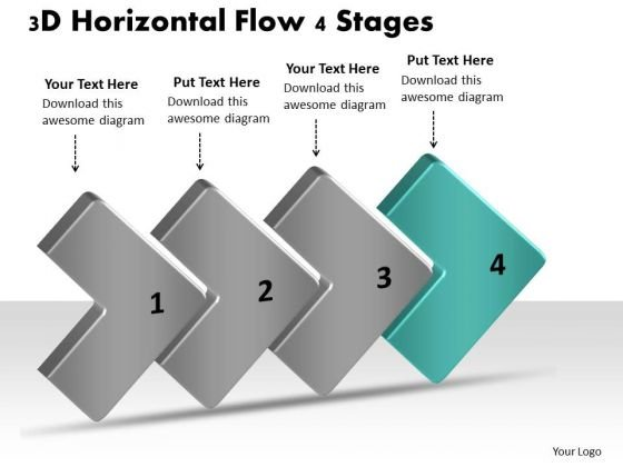 3d Horizontal Flow 4 Stages Visio Flowchart Templates PowerPoint ...