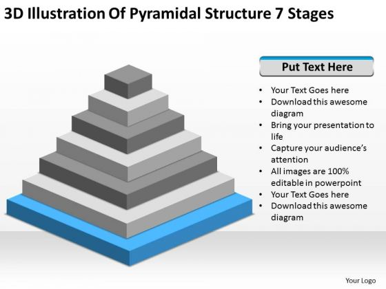3d Illustration Of Pyramidial Structure 7 Stages Business Plan PowerPoint Templates