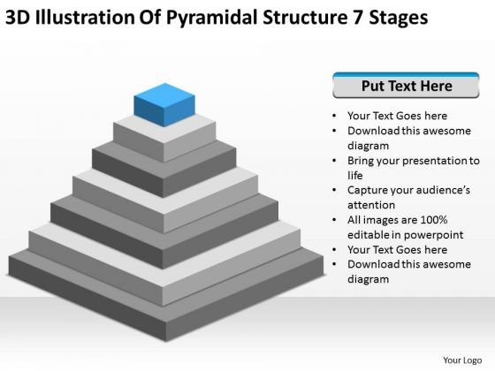 3d Illustration Of Pyramidial Structure 7 Stages Ppt How Business Plan PowerPoint Templates