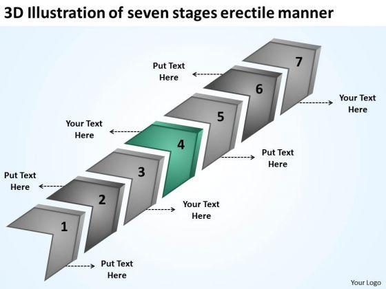 3d Illustration Of Seven Stages Erectile Manner Business Plans Online PowerPoint Slides