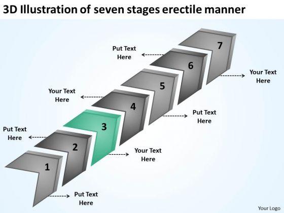 3d Illustration Of Seven Stages Erectile Manner Ppt Business Plan Write PowerPoint Slides