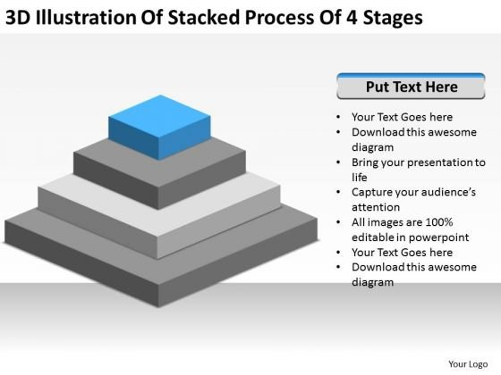 3d Illustration Of Stacked Process 4 Stages Ppt Small Business Planning PowerPoint Slides