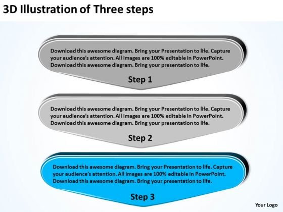 3d Illustration Of Three Steps Ppt Business Plan Template Pages