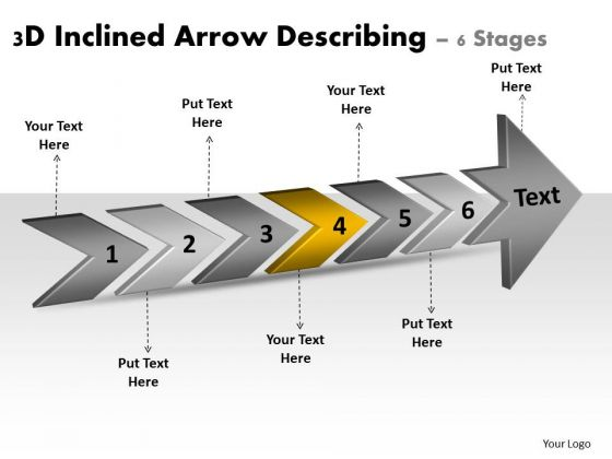 3d Inclined Arrow Describing 6 Stages Strategic Planning Flow Chart PowerPoint Templates