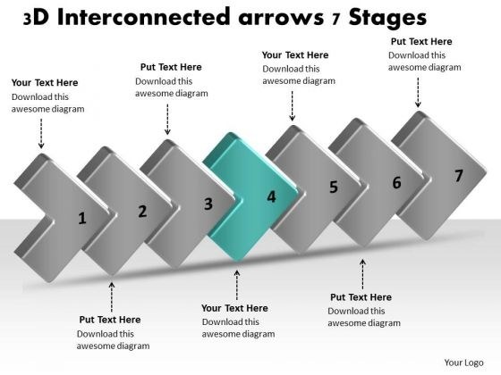 3d Interconnected Arrows 7 Stages Business Process Flow Charts Samples PowerPoint Slides