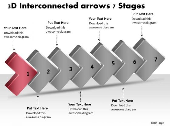 3d Interconnected Arrows 7 Stages Business Work Flow Chart PowerPoint Templates