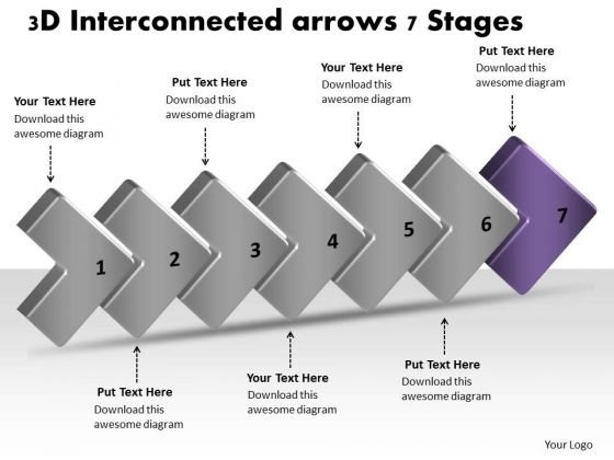 3d Interconnected Arrows 7 Stages Create Flow Charts PowerPoint Slides