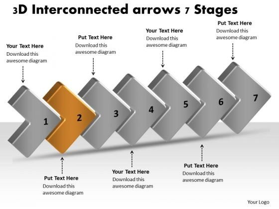3d Interconnected Arrows 7 Stages Ppt Flowchart Examples PowerPoint Slides