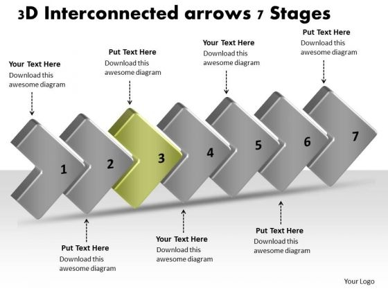 3d Interconnected Arrows 7 Stages Process Flow Charts Samples PowerPoint Slides